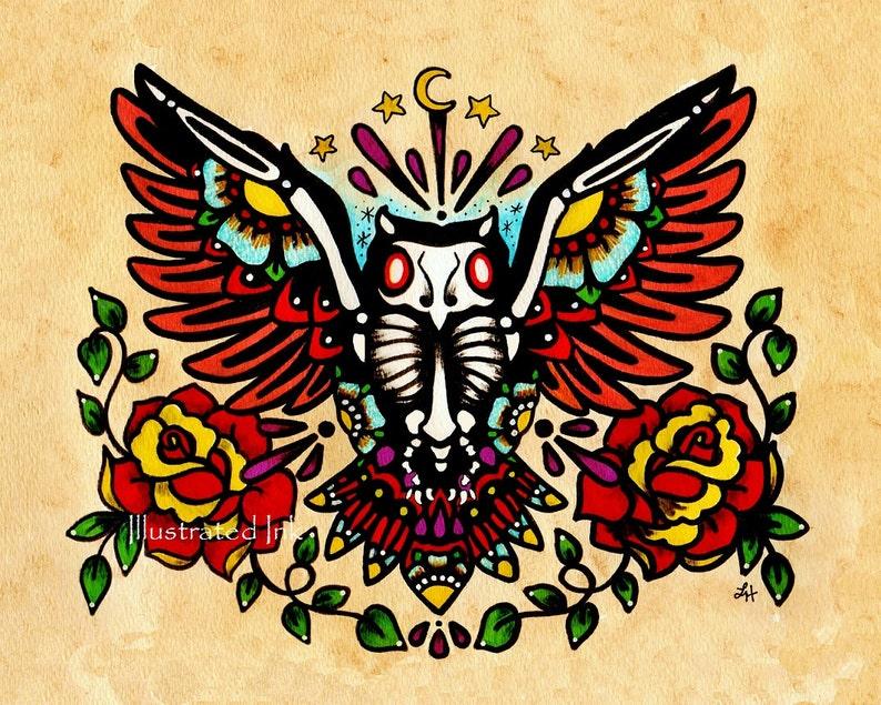Day of the Dead OWL Old School Tattoo Art Print 5 x 7 8 x 10 image 0