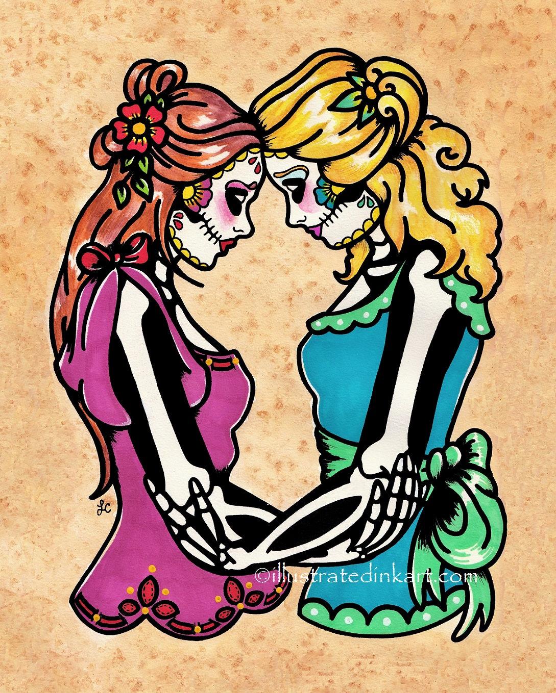 Dia de los Muertos Women SIEMPRE Day of the Dead Art Print 5 x   Etsy