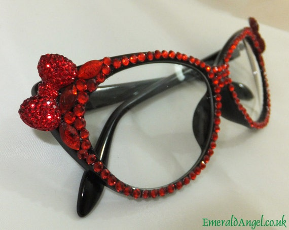 2bd6bd6141a Rhinestones   Crystal Bow Glasses Sun Glasses Vintage