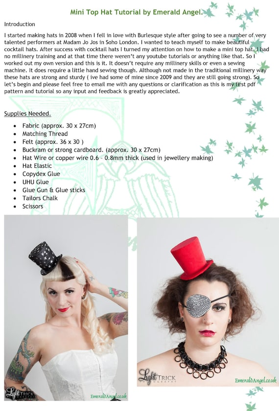 mini top hat pdf pattern tutorial no sewing machine or etsy