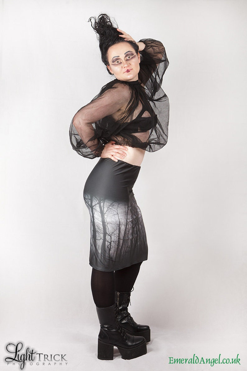 Gothic Custom Size Haunted Forest Pencil Skirt Witch
