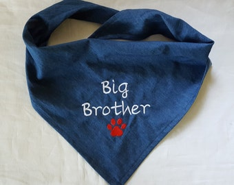 Big Brother Dog Bandana, New Baby announcement and gender reveal,  Baby Shower Gift, dog clothing and accessories,  denim tie-on, cats