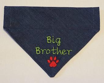 Big Brother Dog Bandana, Over Collar, Bandana, Denim Dog Bandana, Big Brother, Pet Accessories, Denim, Dog Scarf, Dogs, Pets, New Baby