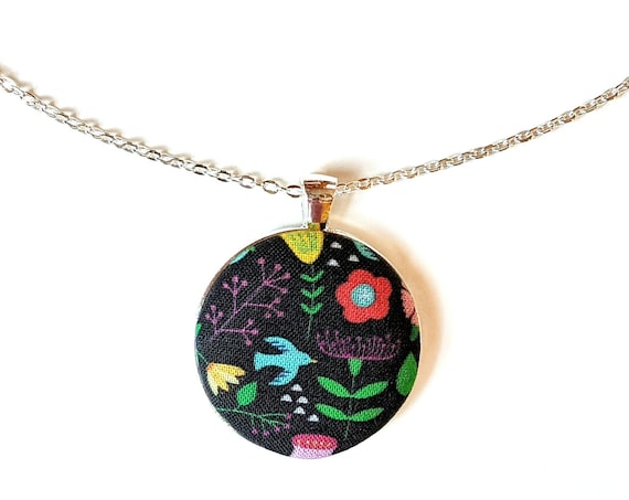 Black handmade fabric necklace with multicolored flowers and bird - black fabric button necklace - Floral pendant necklace