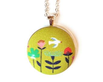 Yellow bird and flowers handmade fabric necklace - yellow fabric button necklace - Yellow floral fabric necklace