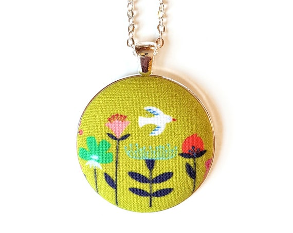 Yellow bird and flowers handmade fabric necklace - yellow fabric button necklace - Yellow floral fabric necklace
