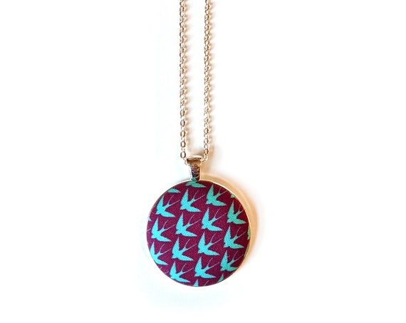 Blue birds on purple handmade fabric necklace - purple and blue fabric pendant necklace - Swallow birds fabric necklace