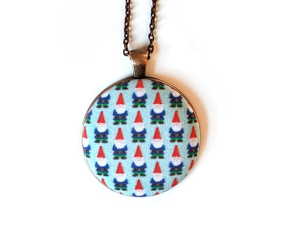 Gnome handmade fabric necklace - fabric button necklace - blue necklace with cute and tiny gnomes