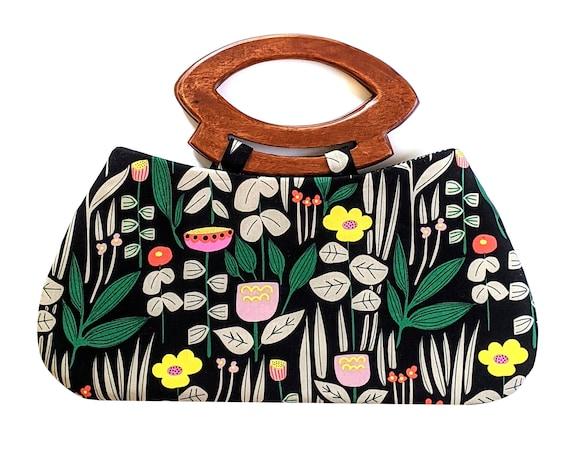 Wild flora handbag with handmade wooden handles - black purse, modern floral print