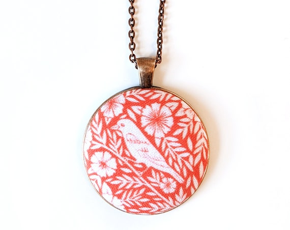 Orange bird and flowers handmade fabric necklace - fabric button necklace - Blockprinted bird necklace