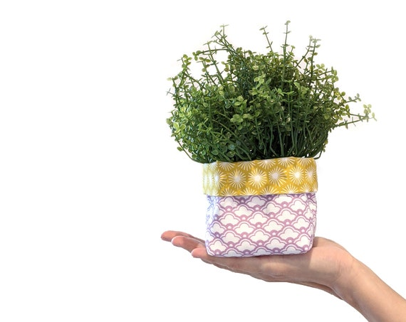 Fabric plant cozy with faux plant - purple and yellow geometric planter - reversible fabric plant pot