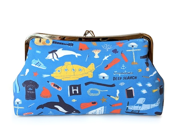 Life Aquatic with Steve Zissou clutch purse - fabric clutch purse with metal frame - Blue clutch purse