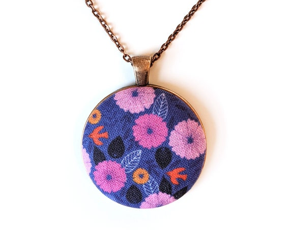 Birds and flowers handmade fabric necklace - fabric button necklace - blue and pink bird necklace