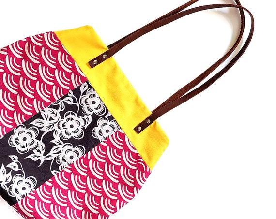 Mixed print fabric handbag with leather handles