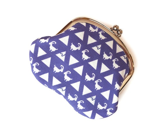 Mountain goat coin purse - change purse in white and purple - handmade geometric coin purse with goats
