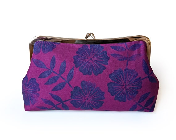 Purple clutch purse with block printed flowers in navy - handmade block printed clutch purse in purple and blue