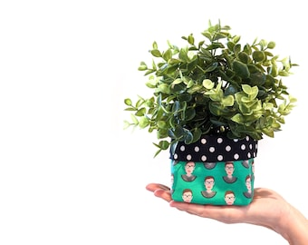 Ruth Bader Ginsburg plant cozy with faux plant - RBG fabric planter - green RBG fabric plant pot