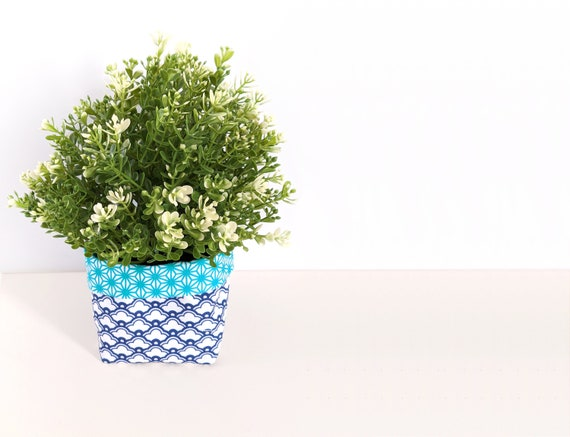 Fabric plant cozy with faux plant - aqua blue planter - blue geometric reversible fabric plant pot