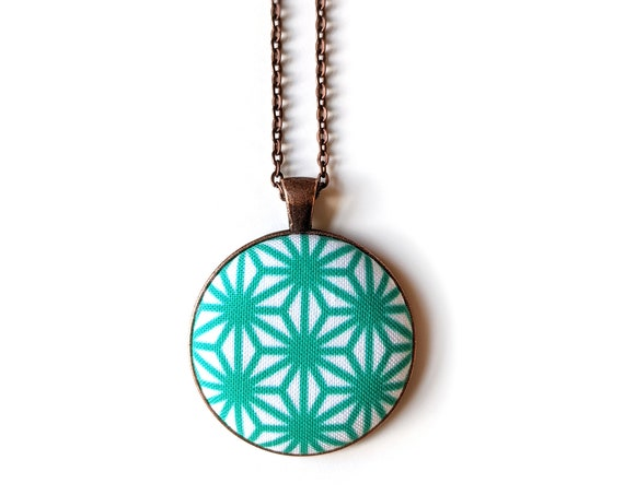 Aqua handmade fabric necklace - fabric button necklace - blue geometric necklace - Asanoha Japanese print necklace