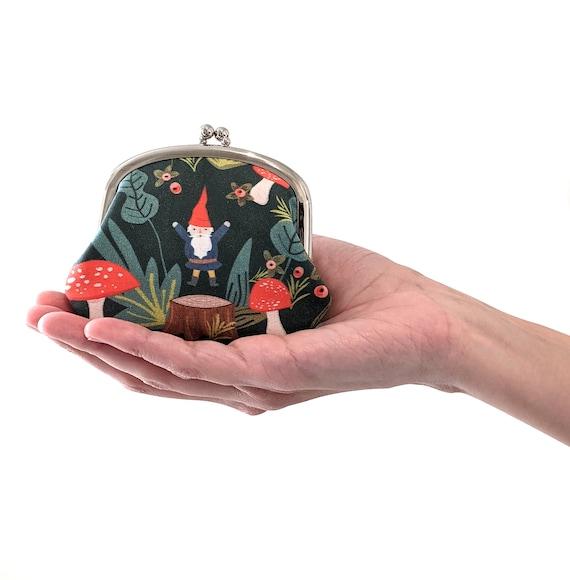 Gnome coin purse - woodland gnome change purse - gnome and mushroom coin pouch