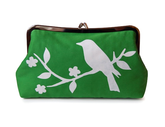 Green clutch purse with screen printed bird in white