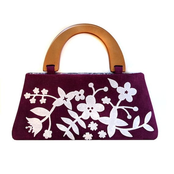 Purple floral handbag with wooden handles - screen printed by hand