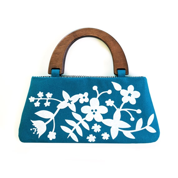 Aqua floral handbag with wooden handles - screen printed by hand