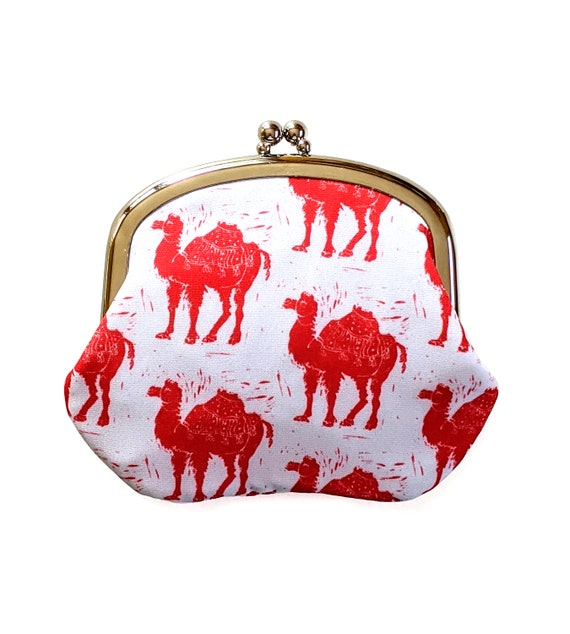 Red and white camel block print coin purse