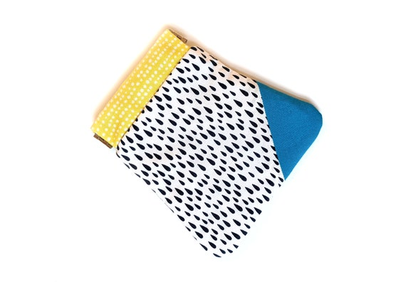 Aqua and yellow pinch pouch - small wallet - credit card holder - gift card holder - small pouch