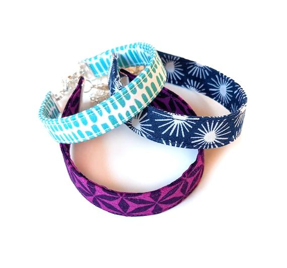 Fabric bracelet set - blue and purple bracelet set - patterned bracelet set - 3 bracelets - geometric bracelets