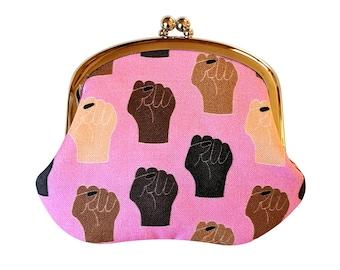 Black Lives Matter coin purse - BLM change purse in pink