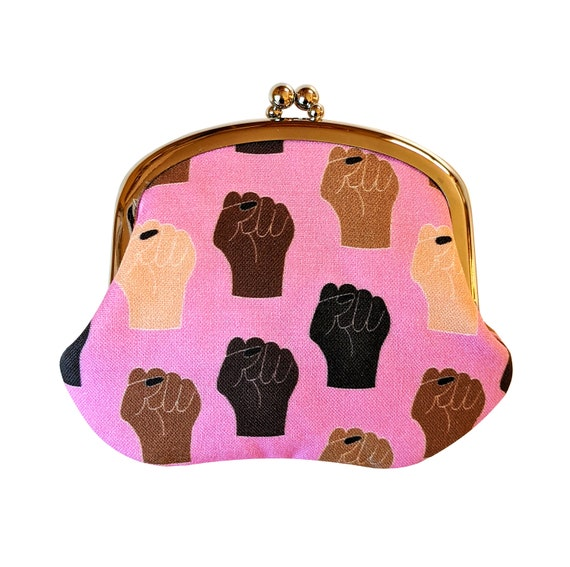 Black Lives Matter coin purse - BLM change purse in pink