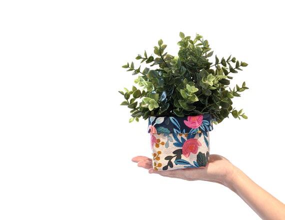 Floral fabric plant cozy with faux plant - Rifle Paper Co. floral planter - flower print reversible fabric plant pot
