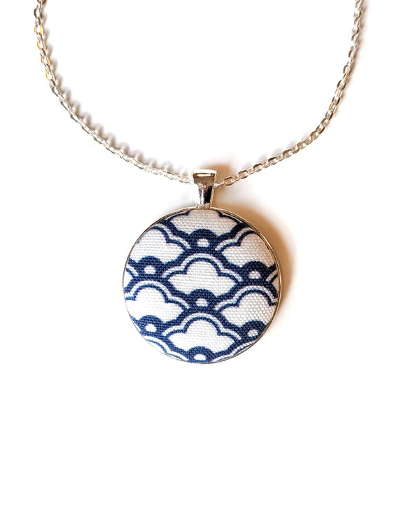 Navy blue geometric handmade fabric necklace - blue fabric button necklace - Japanese pattern fabric necklace