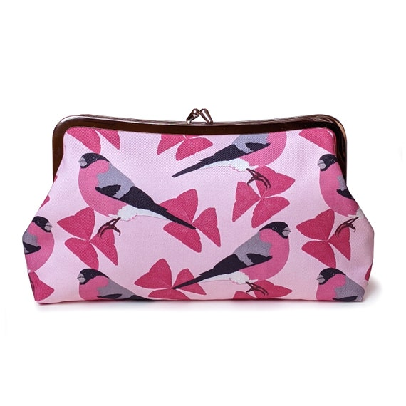 Bullfinch birds with pink flowers clutch purse