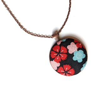 Black sakura flower handmade fabric necklace - fabric button necklace - Japanese floral necklace