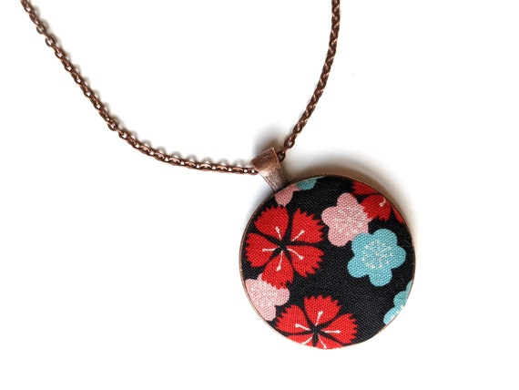 Black sakura flower handmade fabric necklace - fabric button necklace - Japanese floral necklace