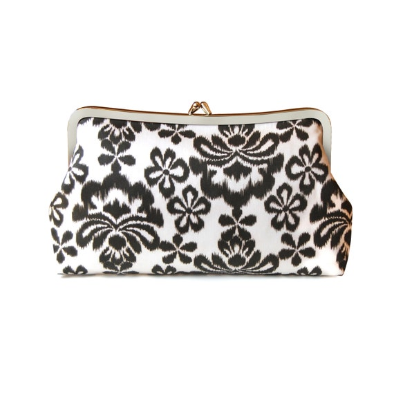 Ikat print boho clutch purse in brown and white