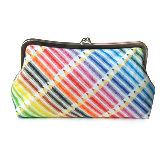 Colored pencils clutch purse - artist clutch purse