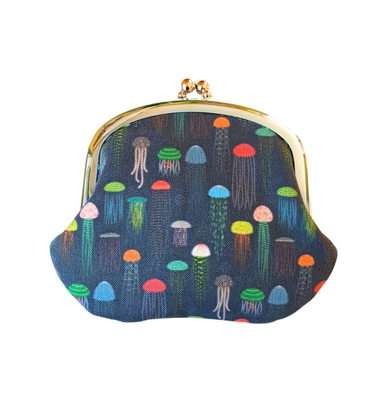 Jellyfish coin purse - blue coin pouch with rainbow jellyfish