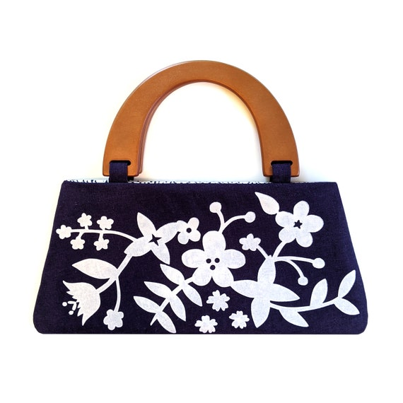 Navy floral handbag with wooden handles - screen printed by hand