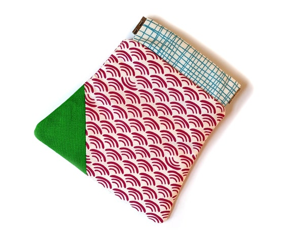 Pink and green pinch pouch - small pink wallet - credit card holder - gift card holder - small pouch