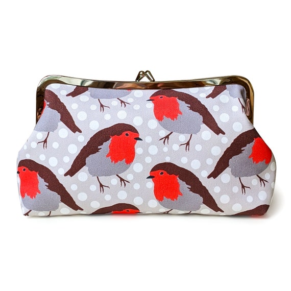 Robin clutch purse - Red bird clutch handbag