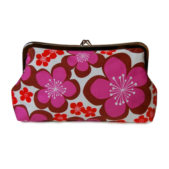 Summer flowers floral clutch - purple and red flower clutch purse - Mother's Day Gift