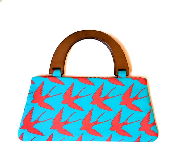Swooping swallows handbag with wooden handles - Aqua blue and red bird purse - handmade swallow bird wooden handle clutch purse