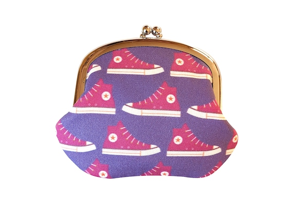 Purple high tops coin purse - purple change purse - purple Converse shoes