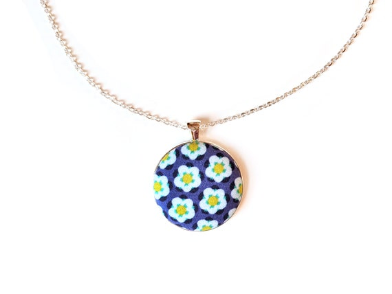 Blue floral handmade fabric necklace - blue fabric button necklace - Violet flowers fabric necklace