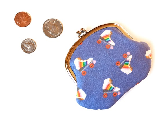 Rad retro roller skates coin purse - rainbow skates - blue coin purse