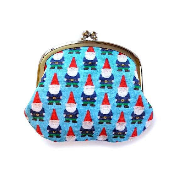 Gnome coin purse - gnome change purse in light blue - garden gnome coin pouch