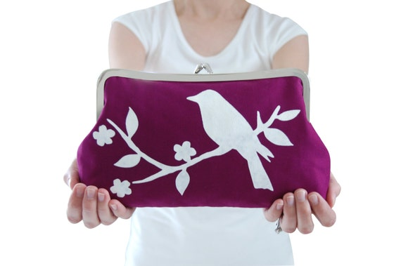 Purple screen printed clutch purse with white bird